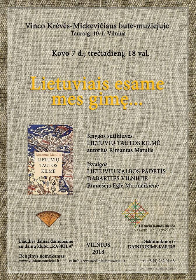 """Rimanto Matulio """"Lietuvių tautos kilmė"""" Krėvės muziejuje"""