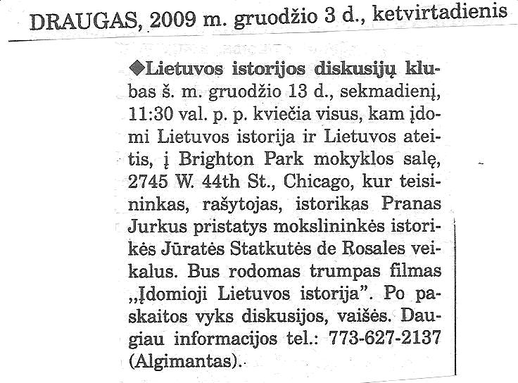Lietuvos istorijos klubas Čikagoje